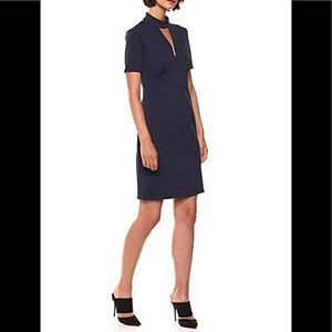 Trina Turk Camari Choker Neck Indigo Blue Dress